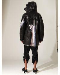 Juun.J Black Hajime Sorayama Print Sherling Coat for men