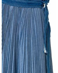 Sacai - Blue Denim Pleated Skirt - Lyst