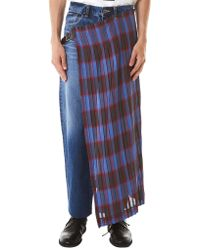 Facetasm Blue Skirt-layered Denim Jeans for men