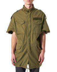 R13 - Green Raw Edge Military Coat - Lyst