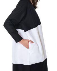 Nancy Stella Soto Black Two-toned Poplin Dress
