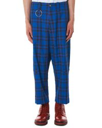Kidill - Blue Cropped Check Trouser for Men - Lyst