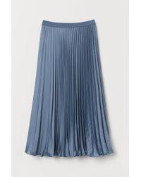 H&M Blue Plissierter Satinrock