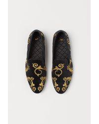 H&M Black Velour Loafers for men