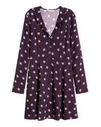 H&M Purple Gemustertes Kleid