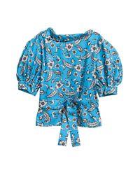 H&M Blue Bluse mit Puffärmeln