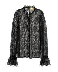 H&M Black Spitzenbluse mit Volantärmeln