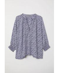 H&M Blue H & M+ Bluse mit V-Ausschnitt