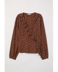 H&M Natural Wickelbluse mit Volants