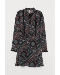 H&M Black Chiffon Dress With Frills