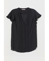 H&M Black Bluse mit Biesenfalten