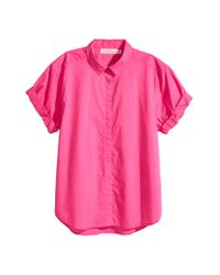 H&M Pink Short-sleeved Cotton Shirt