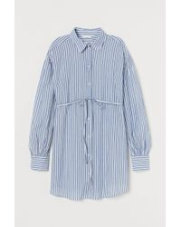 H&M White Mama Long, Tie-belt Shirt