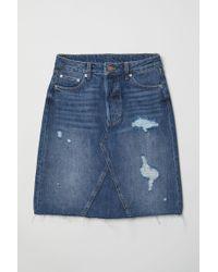 H&M Blue Knielanger Jeansrock