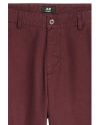 H&M Red Relaxed Chinos for men