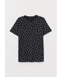T-shirt en coton H&M pour homme en coloris Black