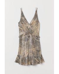 H&M Natural Kurzes Kleid aus Seidenmix