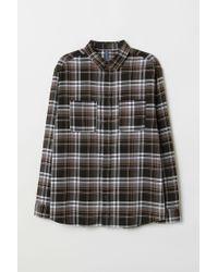 H&M Hemd aus Baumwollflanell in Black für Herren