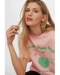 H&M Pink Oversized Printed T-shirt