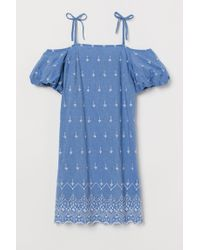 H&M Blue Baumwollkleid mit Stickereien