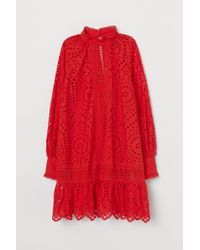 H&M Red Tunika mit Broderie Anglaise