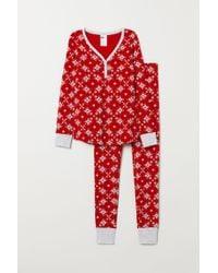 H&M Red Pajama Top And Leggings