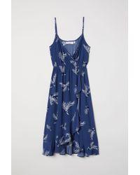 H&M Blue Patterned Wrap Dress