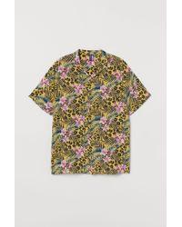H&M Yellow Resort Shirt for men