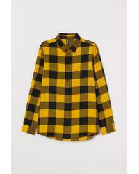 H&M Hemd aus Baumwollflanell in Yellow für Herren