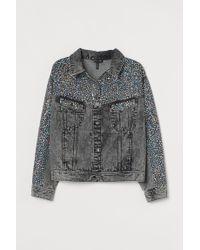 H & M+ Veste en jean pailletée H&M en coloris Gray