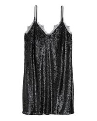 Robe à paillettes H&M en coloris Black