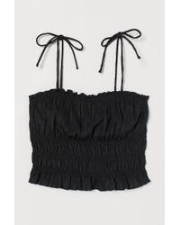 H&M Black Gesmoktes Top