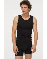H&M Black Pima Cotton Tank Top for men