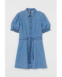 H&M Blue Jeanskleid mit Puffärmeln