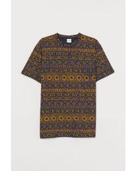 H&M Gemustertes T-Shirt in Blue für Herren