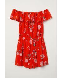 H&M Red Off-Shoulder-Jumpsuit