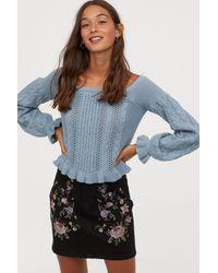H&M Blue Off-the-shoulder Sweater