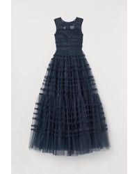 H&M Blue Ballkleid aus Tüll