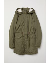 H&M Green Padded Parka With Hood