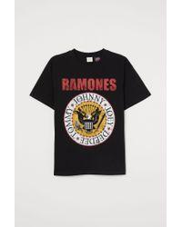 H&M Black Oversize-T-Shirt mit Druck