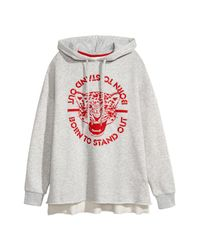 H&M Gray Embroidered Hooded Sweatshirt