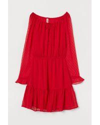 Robe courte en mousseline H&M en coloris Red