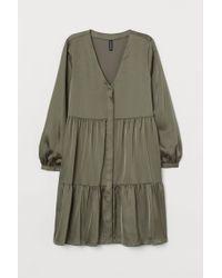 H&M Green Kleid mit V-Ausschnitt