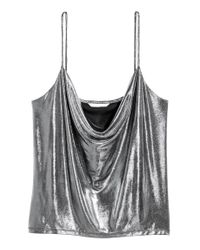 Top drapé H&M en coloris Metallic