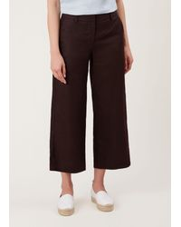 Hobbs Brown Nicole Cropped Linen Trousers