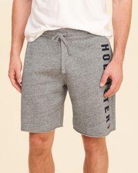 Hollister - Gray Graphic Fleece Jogger Shorts for Men - Lyst