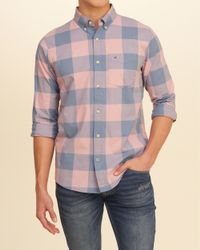 Hollister - Pink Patterned Stretch Poplin Shirt for Men - Lyst