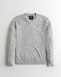 Hollister Gray Lightweight Crewneck Sweater for men