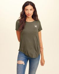 Hollister - Green Cutout Back Graphic Tee - Lyst