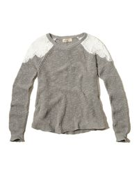 Hollister | Gray Lace Panel Sweater | Lyst